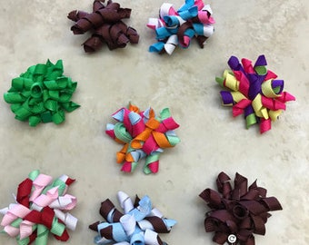 "Grab Bag Grab Bag 2"" Handmade 8 korker Bows Partially Lined Alligator Clip Various Colors baby girl toddler Spring Easter"