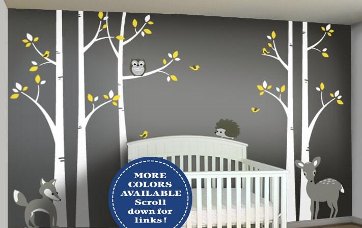 ?zoom & Woodland Nursery Decor Birch Tree Wall Decal Set Baby