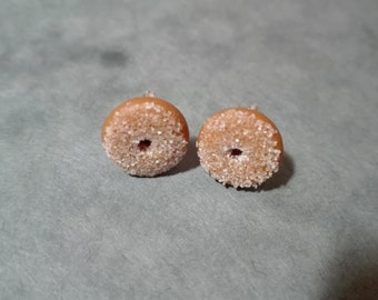 Miniature Donut Earrings, Polymer Clay Earrings