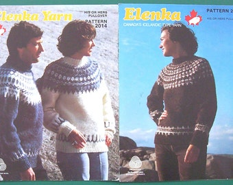 Two Vintage White Buffalo Elenka His or Hers Pullover Knitting Patterns No:2014 and 2012 Paper Originals NOT PDF