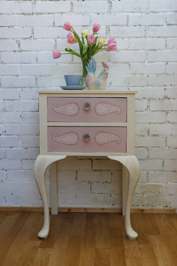 Pink Bedside Table: Pretty Pink Painted Bedside Table Lamp Table With Stencilled