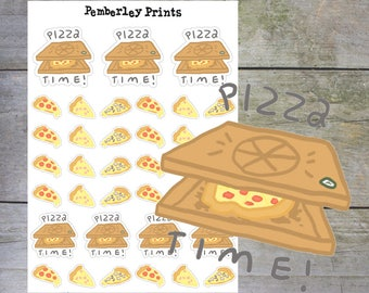 Pizza Night Stickers // Hand Drawn Pizza Time Stickers Perfect for Your Planner // HD48