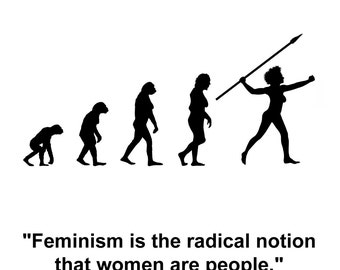 Feminism 101 Poster -feminism is the radical notion that women are people - Marie Shear Feminist Art Print - Different sizes available