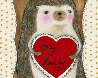 "MarmeeCraft hedgehog Valentines Day art print, ""My Lovely"""