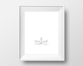 Paper Boat Print, Origami Paper Boat, Origami Love, Nursery Wall Art, Black and White Origami, Digital Kids Wall Art, Paper Boat Art
