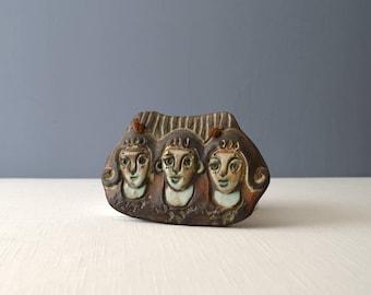 Vintage Studio Art Pottery Tile - Three Women