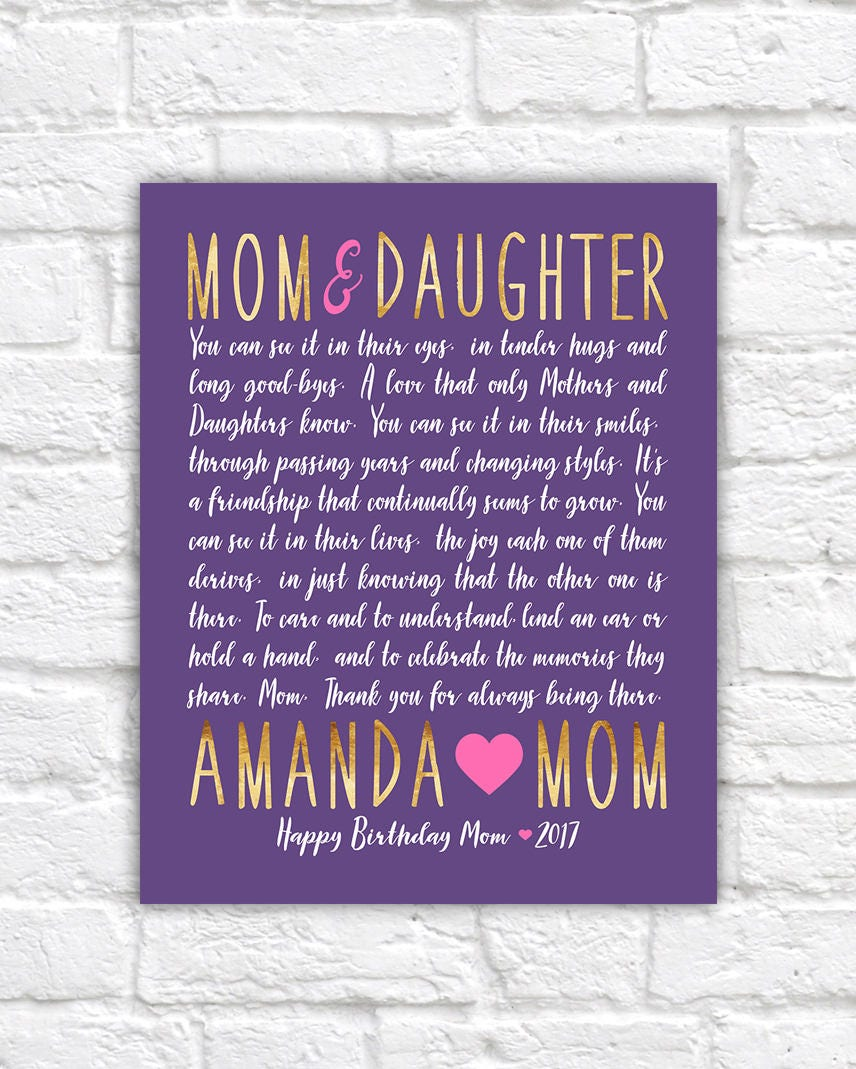 Letter To Mom And Daughter Gift Idea Birthday