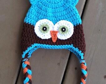 Owl Hat, Infant Owl Hat, Crochet Kids Hat, Crochet Owl Hat, Baby Boy Hat, Boy Owl Hat, Kids Owl Hat, Newborn Photo Prop