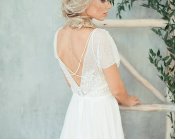 Boho wedding dress 'TEONA' / Bohemian Wedding Dress, Backless Wedding Dress, Open Back Wedding Dress, Low Back Wedding Dress, Lace Dress