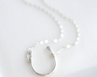Horseshoe Necklace - Everyday Girlfriend Necklace - Silver Layering Necklace - Minimal Girlfriend Necklace - Everyday Jewelry