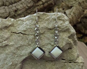 Earrings with rhombus white mother-of-pearl pendant