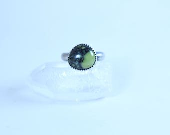 Size 5.5 - NEW LANDER RING - Silver Ring - Handmade Ring - Sterling Silver - Green Stone - Brave - Anxiety - Depression - Ready To Ship!