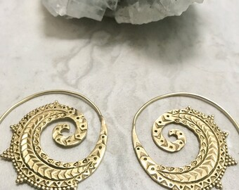 Brass spiral hoop earrings