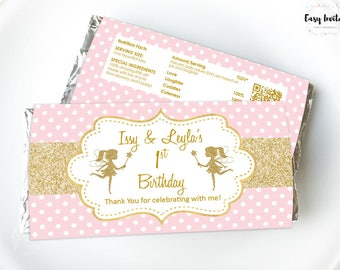Fairy party favors, fairy party favours, twin fairy, fairy birthday party, hershey, aldi, pink gold, fairy party printable, girl favors