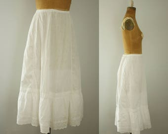 antique petticoat | vintage 1910s white cotton skirt