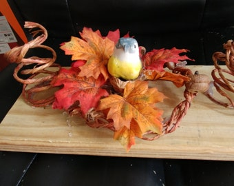 Nesting Bird in Autumn table candle holder centerpiece