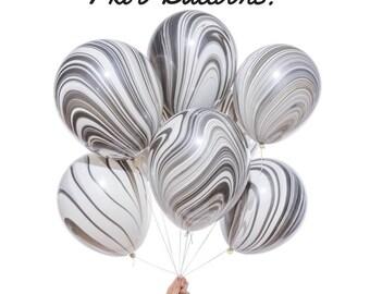 6 x Black & White Marble Balloons - Monochrome Party Balloon Decorations