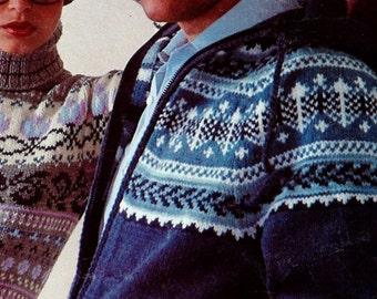 Scandinavian Knit Hooded Sweater Vintage Knitting Pattern Instant Download