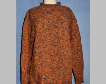 Hand knitted Pure Wool Mix Jumper from Nepal - khaki and natural brown DAgaul