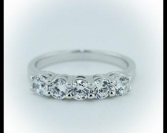 Five Stone Diamond Wedding Band / Anniversary Band 1 Carat Total Weight