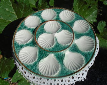 Flat oyster or shellfish - plate - French - 50's - 60