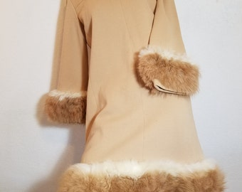 FREE  SHIPPING  1950 Wool and Fur Dress