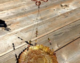 Bird feeder, Bird bath,  Orange, Green, Glass plate, Copper wire, Glass beads