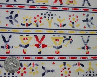 "Vintage Full Feedsack,Fabric Novelty Figures, Striped Pattern, Huge 37 x 45"" Excellent"