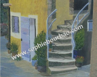 Alley in a Village in Provence - oil painting