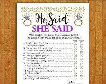 Bridal Shower Game Download - He Said She Said - PURPLE and GOLD - Instant Printable Digital Download - diy bachelorette party Printables