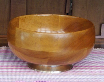 """Wood Fruit Bowl With Sterling Silver Base ~ 9"""" diameter x 4-3/4"""" high ~ Wooden Fruit Bowl ~ Turned Bowl"""