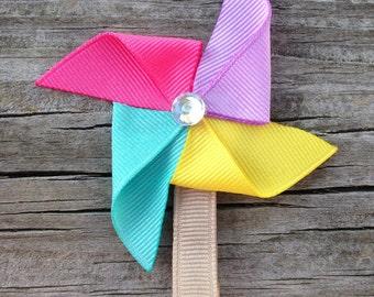 Pinwheel Hair Clip, Garden Pinwheel Ribbon Sculpture Hair Clip, Spring Hair Clip, Toddler Hair Clip, FREE SHIPPING PROMO