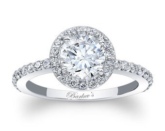 Barkevs White Gold Diamond Halo Engagement Ring, Moissanite Engagement Rings, Available with a Diamond or Moissanite Center Stone, 7895L