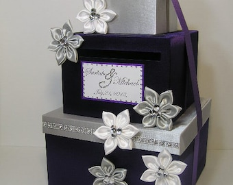 Wedding Card Box Silver and Purple  Gift Card Box Money Box  Holder--Purple and Silver or Customize your color