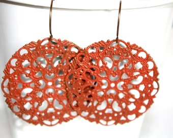 Rustic Filigree Earrings, Handpainted Earrings, Copper Colored Jewelry, Rust Color