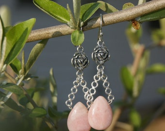 """Light Pink Opal Biolette Tear Drops with Roses Sterling Silver Dangle Earrings--""""Climbing Roses"""""""