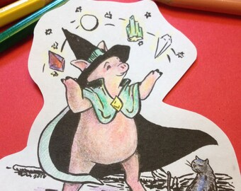 Pig Witch digistamp to color, print, for cards + more (line art by Kir Talmage)