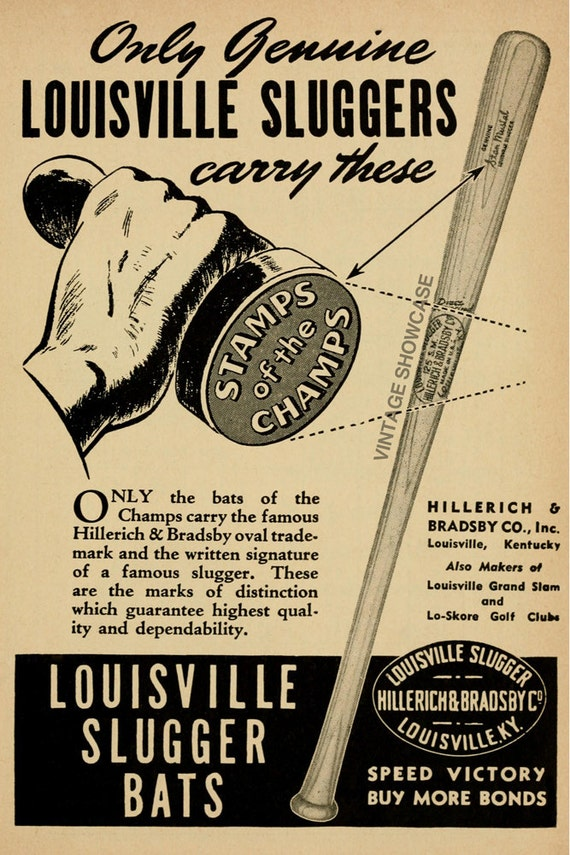 Vintage Louisville Slugger Baseball Bat Advertisement Photo