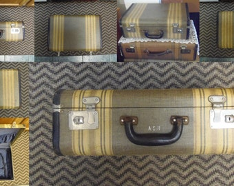 SALE-Vintage Striped Tweed Suitcase A.S.H. Leather Trim  Key