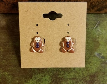 Tiny Handmade Clay Gingerbread Man Christmas novelty Stud Earrings