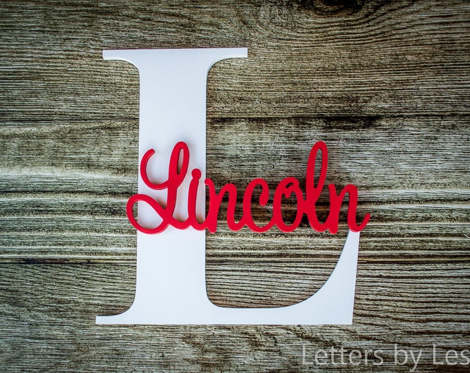 Nursery Name Sign Capital Letter Baby Name Plaque Personalized Nursery Baby Name Wall Hanging Nursery Wooden Wall Art