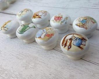 Peter Rabbit/ Beatrix Potter Design Drawer Handles Dresser Pulls Door Knobs/ Children's Room/ Nursery
