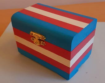 Handpainted Trans Flag Wooden Chest