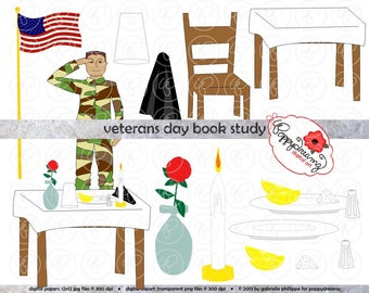 Veterans Day Book Study Clipart: (300 dpi transparent png) Literature Teacher Clip Art Veteran's Day Soldier White Table