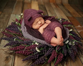 Purple Mohair Teddy Bear Hat and Shorts Set Newborn Baby Photography Prop