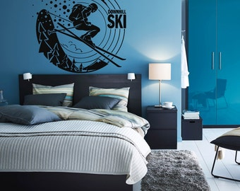 Wall Decal Sticker Bedroom downhill ski winter sport snow mountains boys teenager room 227b