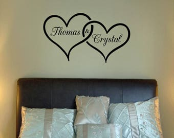 Personalized Two Hearts joined with names vinyl wall decal