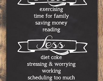 Personalized New Year's Resolution - More and Less Goals for 2015 - Chalkboard Print - 8x10 & 16x20