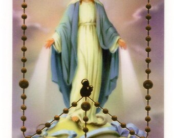 Plastic miraculous Holy picture and mysteries of the Rosary