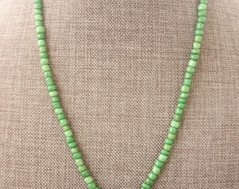 Green Glass Beaded Necklace with Carnation Flower Pendant